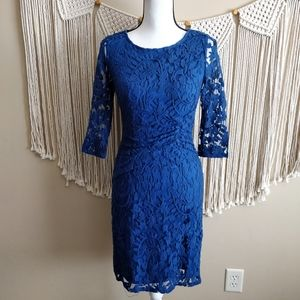 Adrianna Papell Blue Lace Pencil Cocktail Dress 4